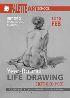 February 3 & 10, 2018</br><b>Uninstructed Life Drawing or Painting Sessions (2 days)</b>