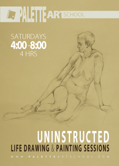 <b>Uninstructed Life Drawing or Painting Sessions (4 hours).</b>