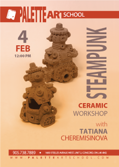February 4, 2018</br><b>Steampunk Themed Ceramic Workshop</b>